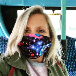 Lucy Hawking, author, wearing 'cosmic' theme face mask